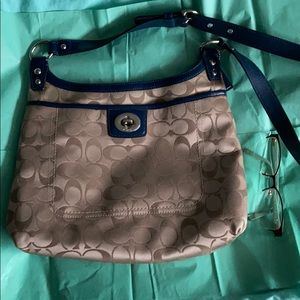 Coach bag large gold with blue